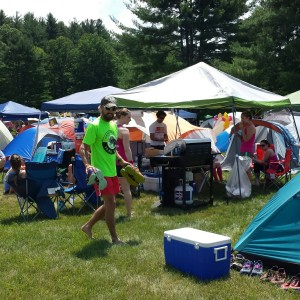 This is part of our setup for the 2015 Trail Ragnar in Northfield, MA. 3 teams, a BBQ, 2 canopies, and tents!