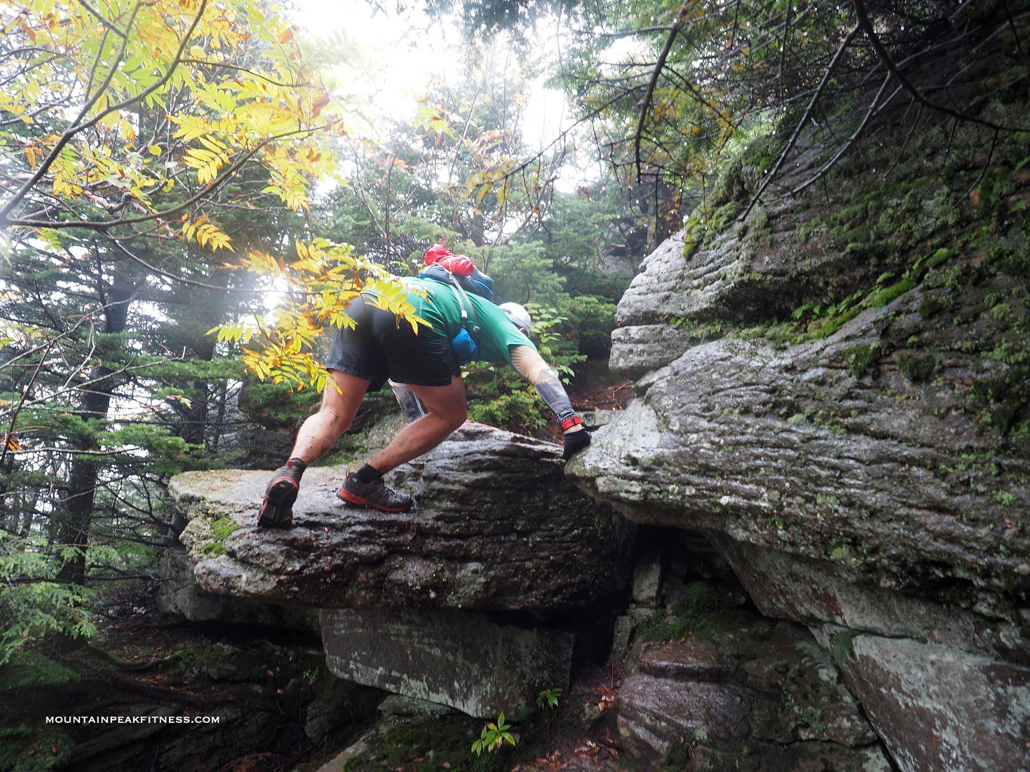 Adam climbing up the trail during 2015 cat's tail trail marathon