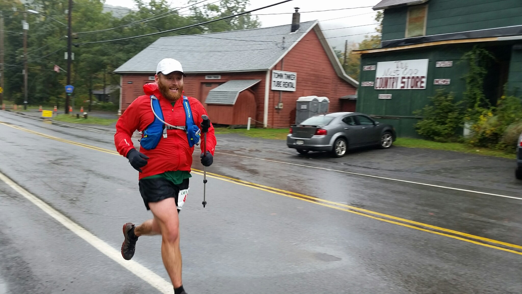 Adam Moody finishing the cat's tail trail marathon 2015